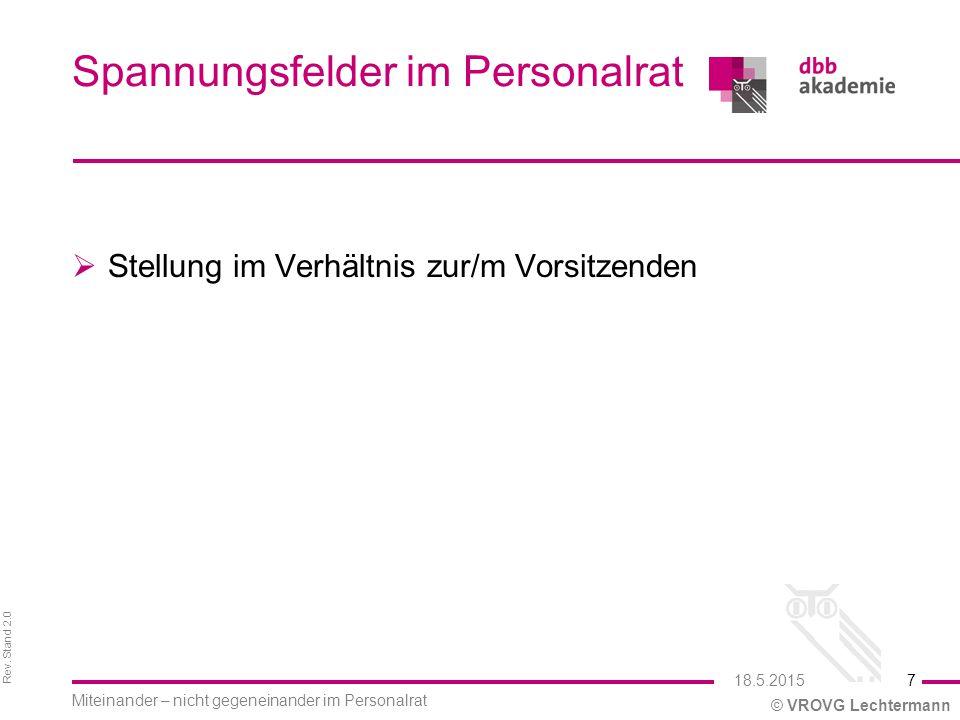 Rev. Stand 2.0 © VROVG Lechtermann Spannungsfelder im Personalrat  Stellung im Verhältnis zur/m Vorsitzenden 18.5.2015 Miteinander – nicht gegeneinan