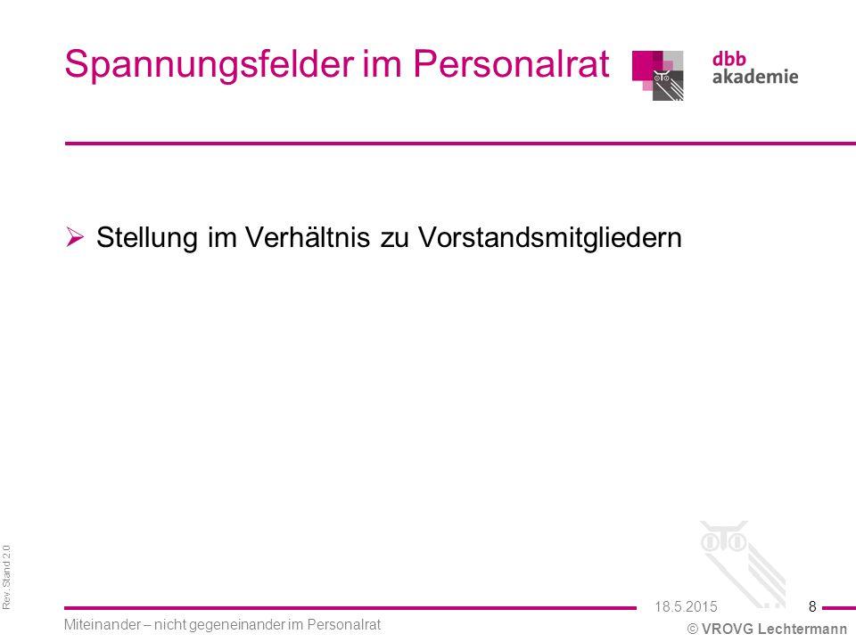 Rev. Stand 2.0 © VROVG Lechtermann Spannungsfelder im Personalrat  Stellung im Verhältnis zu Vorstandsmitgliedern 18.5.2015 Miteinander – nicht gegen