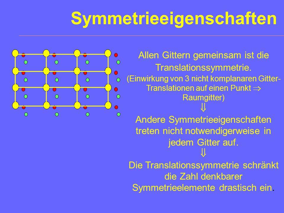 Symmetrieeigenschaften Allen Gittern gemeinsam ist die Translationssymmetrie.