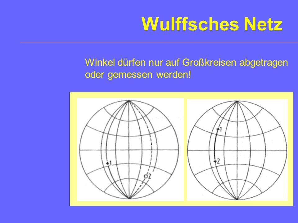 Wulffsches Netz Prinzip Elemente: Das Wulffsche Netz ist die Projektion des Gradnetzes des Erdglobus mit der Nord-Süd-Achse (N-S) in der Projektionseb