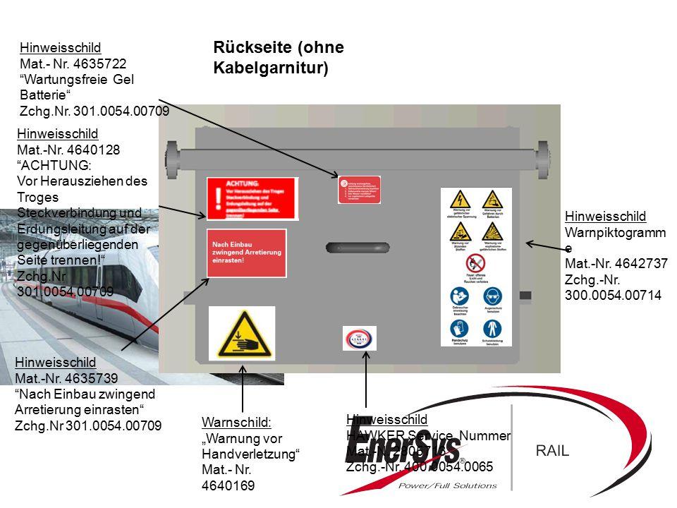 """Hinweisschild Warnpiktogramm e Mat.-Nr. 4642737 Zchg.-Nr. 300.0054.00714 Hinweisschild Mat.- Nr. 4635722 """"Wartungsfreie Gel Batterie"""" Zchg.Nr. 301.005"""
