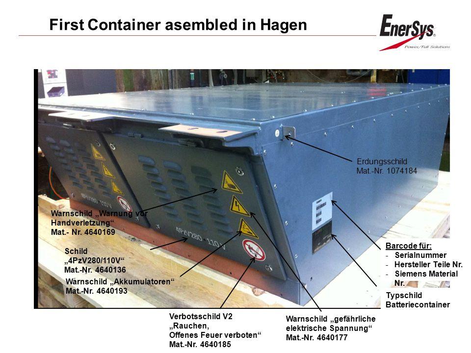 """First Container asembled in Hagen Warnschild """"gefährliche elektrische Spannung"""" Mat.-Nr. 4640177 Schild """"4PzV280/110V"""" Mat.-Nr. 4640136 Warnschild """"Ak"""