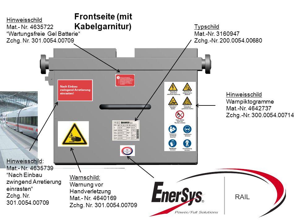 """Hinweisschild Mat.- Nr. 4635722 """"Wartungsfreie Gel Batterie"""" Zchg. Nr. 301.0054.00709 Typschild Mat.-Nr. 3160947 Zchg.-Nr. 200.0054.00680 Hinweisschil"""