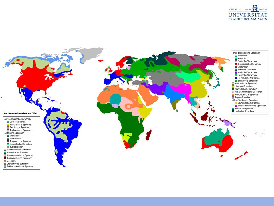 Phoneminventargrößen Kleinstes Inventar: 11 Phoneme (6 C, 5 V) Rotokas (Papua) Größtes Inventar: 141 Phoneme (95 C, 46 V) !Xũ (Khoisansprache) Mittelwert: 31 (70% der Sprachen 20-37) Konsonanten: 6-95, Mittelwert: 22,8 Vokale: 3-46, Mittelwert: 8,7