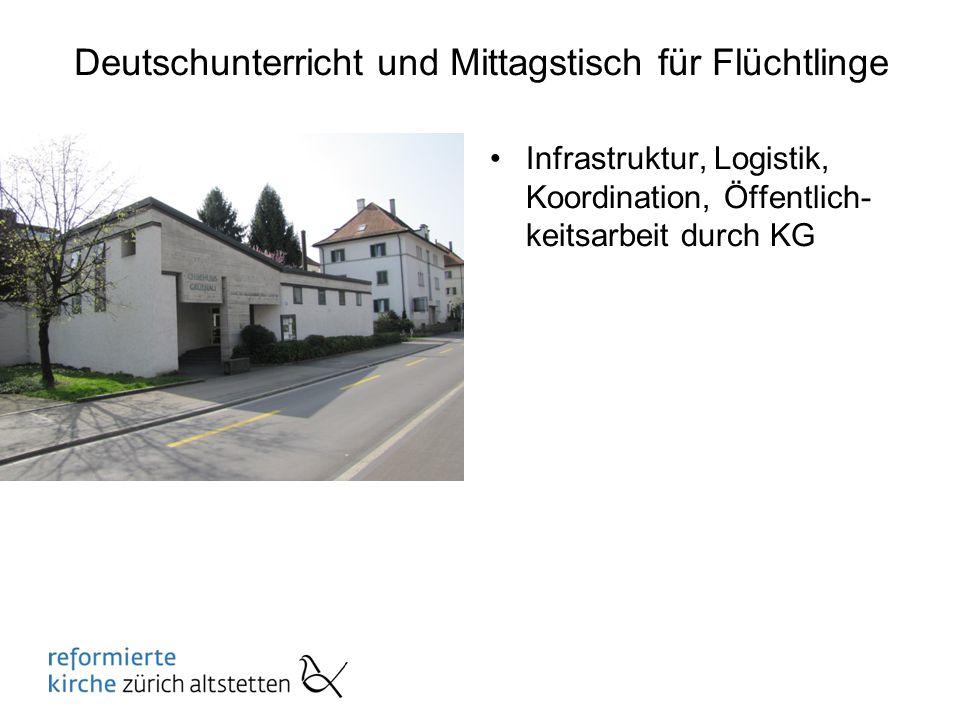 Deutschunterricht und Mittagstisch für Flüchtlinge Infrastruktur, Logistik, Koordination, Öffentlich- keitsarbeit durch KG