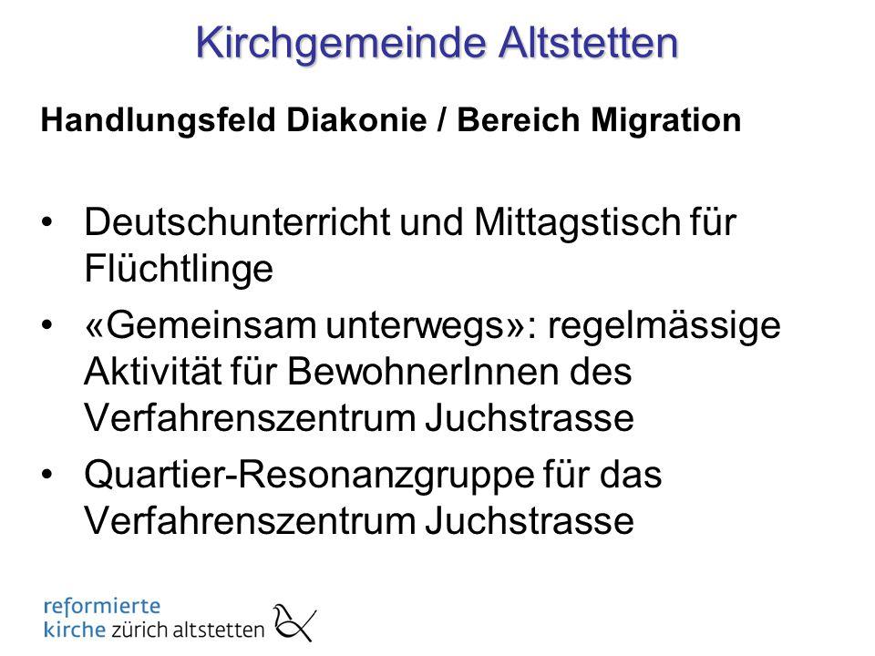 Deutschunterricht und Mittagstisch für Flüchtlinge In Kooperation mit dem Solinetz Auslagen fürs Essen finanziert durch Spendenparlament Gleiches Angebot auch in KG Aussersihl am Stauffacher und Pfarrei Felix & Regula