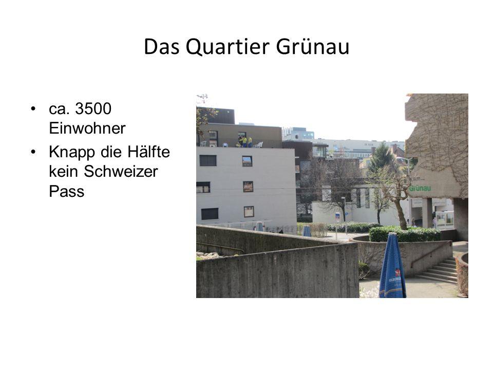 Das Quartier Grünau ca. 3500 Einwohner Knapp die Hälfte kein Schweizer Pass
