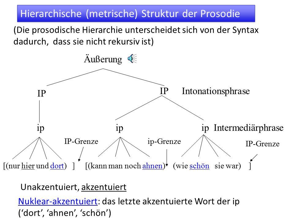 Hierarchische (metrische) Struktur der Prosodie (Die prosodische Hierarchie unterscheidet sich von der Syntax dadurch, dass sie nicht rekursiv ist) [(nur hier und dort) ] [(kann man noch ahnen) (wie schön sie war) ] ip IP Äußerung Intonationsphrase Intermediärphrase IP-Grenzeip-Grenze IP-Grenze Unakzentuiert, akzentuiert Nuklear-akzentuiert: das letzte akzentuierte Wort der ip ('dort', 'ahnen', 'schön')