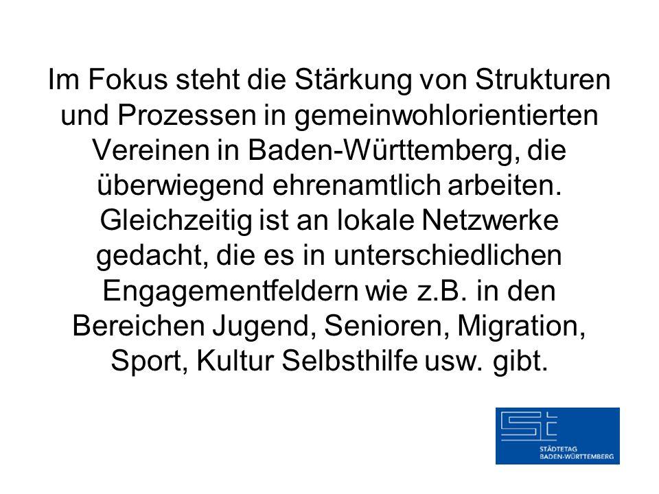 Im Fokus steht die Stärkung von Strukturen und Prozessen in gemeinwohlorientierten Vereinen in Baden-Württemberg, die überwiegend ehrenamtlich arbeite