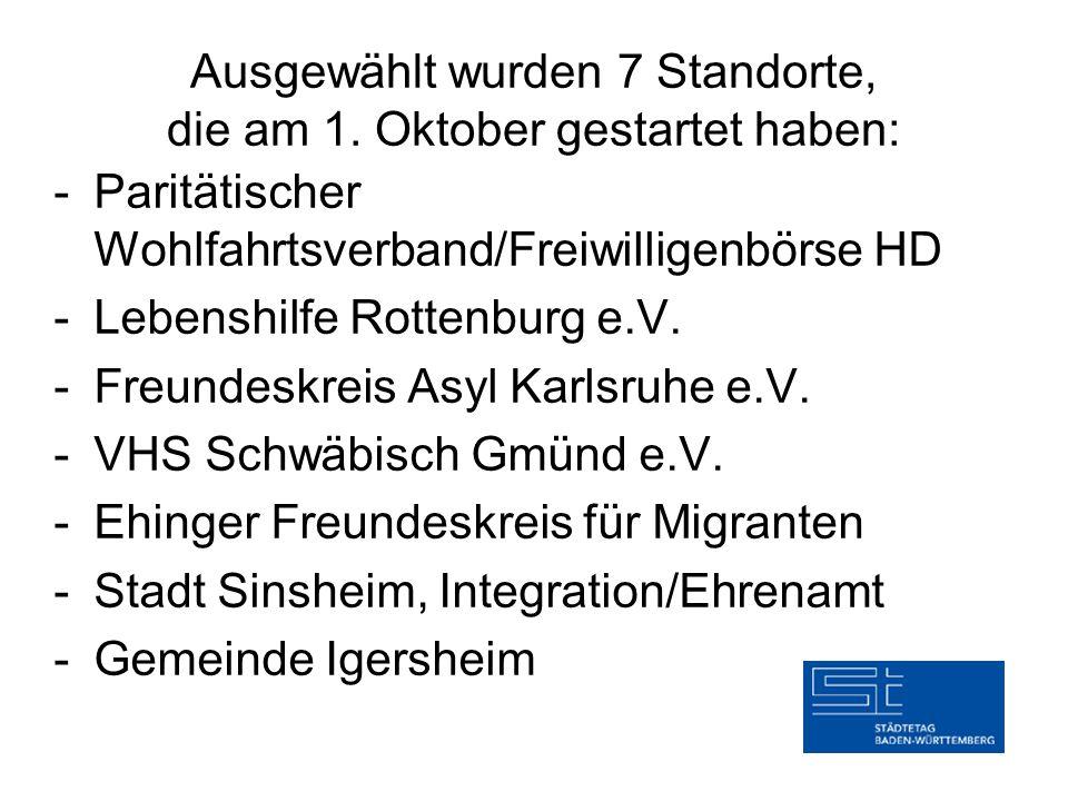 Ausgewählt wurden 7 Standorte, die am 1. Oktober gestartet haben: -Paritätischer Wohlfahrtsverband/Freiwilligenbörse HD -Lebenshilfe Rottenburg e.V. -