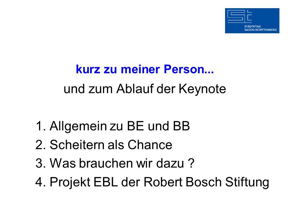 kurz zu meiner Person... und zum Ablauf der Keynote 1. Allgemein zu BE und BB 2. Scheitern als Chance 3. Was brauchen wir dazu ? 4. Projekt EBL der Ro