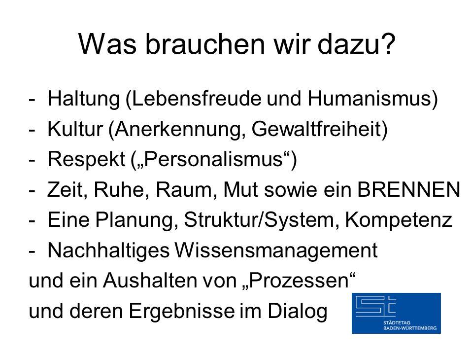 """Was brauchen wir dazu? - Haltung (Lebensfreude und Humanismus) - Kultur (Anerkennung, Gewaltfreiheit) - Respekt (""""Personalismus"""") - Zeit, Ruhe, Raum,"""