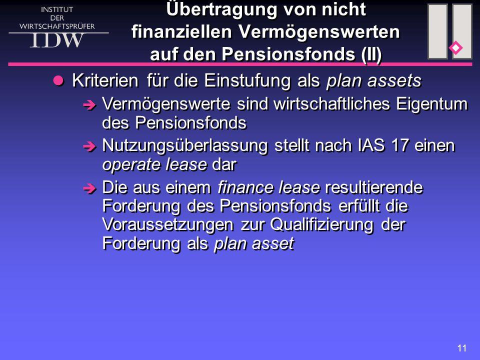 11 Kriterien für die Einstufung als plan assets  Vermögenswerte sind wirtschaftliches Eigentum des Pensionsfonds  Nutzungsüberlassung stellt nach IA