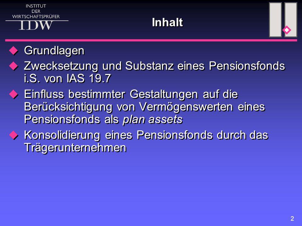 2 Inhalt  Grundlagen  Zwecksetzung und Substanz eines Pensionsfonds i.S. von IAS 19.7  Einfluss bestimmter Gestaltungen auf die Berücksichtigung vo