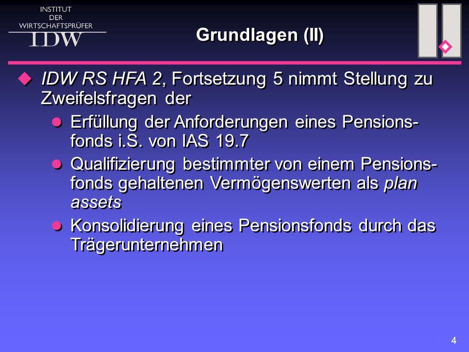 4 Grundlagen (II)  IDW RS HFA 2, Fortsetzung 5 nimmt Stellung zu Zweifelsfragen der Erfüllung der Anforderungen eines Pensions- fonds i.S. von IAS 19