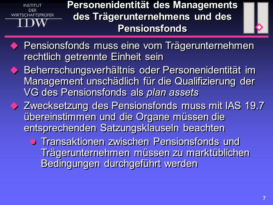 7 Personenidentität des Managements des Trägerunternehmens und des Pensionsfonds  Pensionsfonds muss eine vom Trägerunternehmen rechtlich getrennte E