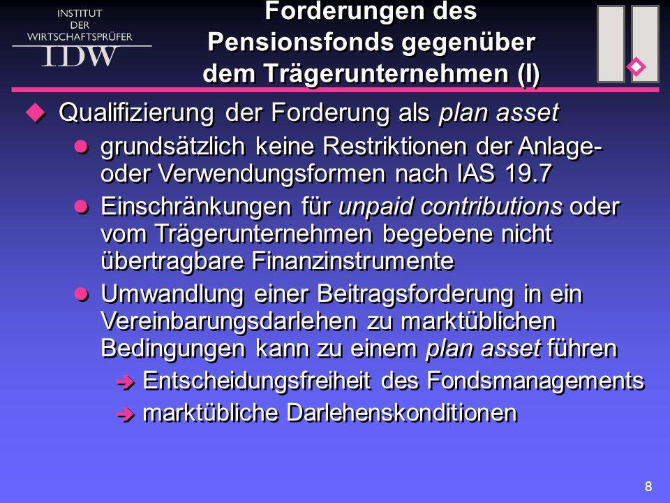 8  Qualifizierung der Forderung als plan asset grundsätzlich keine Restriktionen der Anlage- oder Verwendungsformen nach IAS 19.7 Einschränkungen für unpaid contributions oder vom Trägerunternehmen begebene nicht übertragbare Finanzinstrumente Umwandlung einer Beitragsforderung in ein Vereinbarungsdarlehen zu marktüblichen Bedingungen kann zu einem plan asset führen  Entscheidungsfreiheit des Fondsmanagements  marktübliche Darlehenskonditionen  Qualifizierung der Forderung als plan asset grundsätzlich keine Restriktionen der Anlage- oder Verwendungsformen nach IAS 19.7 Einschränkungen für unpaid contributions oder vom Trägerunternehmen begebene nicht übertragbare Finanzinstrumente Umwandlung einer Beitragsforderung in ein Vereinbarungsdarlehen zu marktüblichen Bedingungen kann zu einem plan asset führen  Entscheidungsfreiheit des Fondsmanagements  marktübliche Darlehenskonditionen Forderungen des Pensionsfonds gegenüber dem Trägerunternehmen (I)