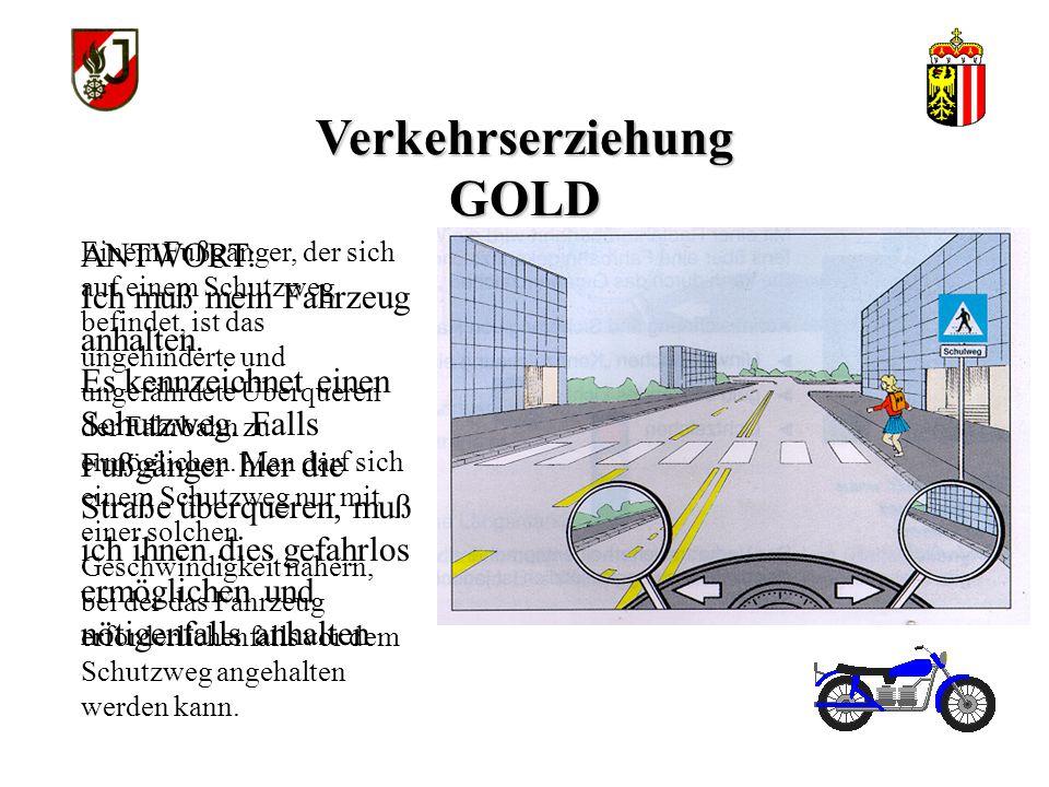 Verkehrserziehung GOLD Einem Fußgänger, der sich auf einem Schutzweg befindet, ist das ungehinderte und ungefährdete Überqueren der Fahrbahn zu ermöglichen.