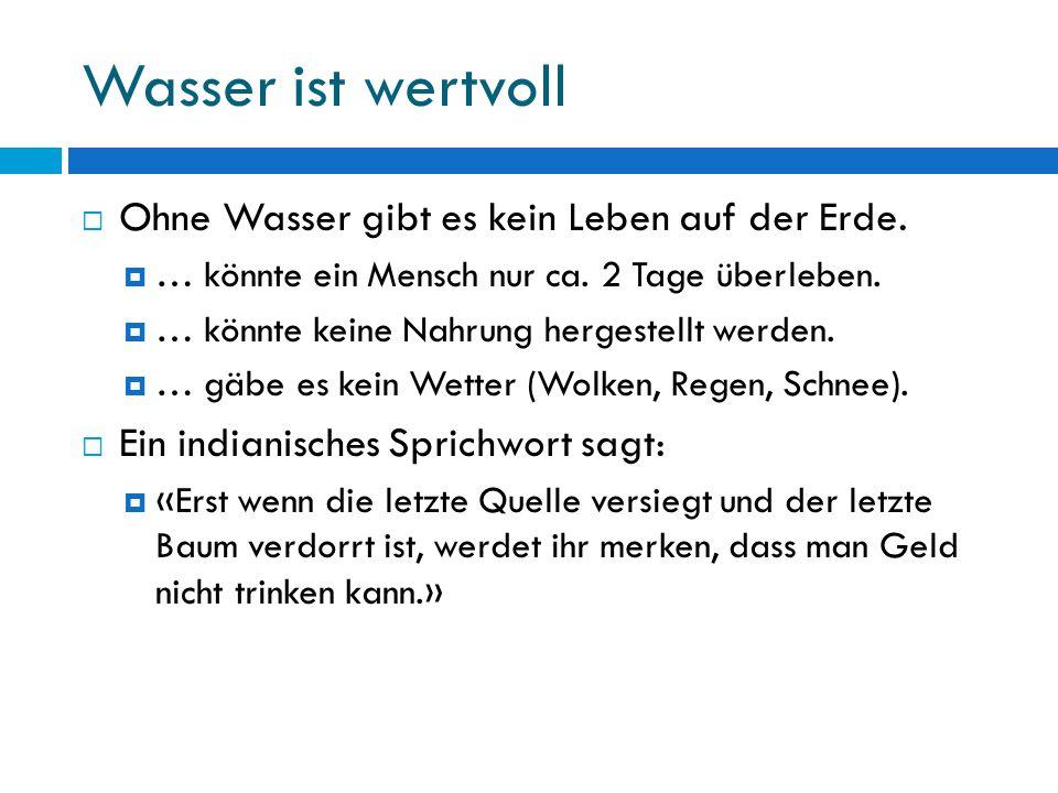 Wasserverbrauch Durchschnittlicher Schweizer Privathaushalt (Liter pro Person und Tag) Toilettenspülung47.7 Liter29.5 % Baden/Duschen31.7 Liter19.6 % Waschmaschine30.2 Liter18.6 % Kochen/Trinken, Abwaschen24.3 Liter15.0 % Körperpflege, Handwäsche20.7 Liter12.8 % Sonstiges3.8 Liter2.3 % Geschirrspüler3.6 Liter2.2 %