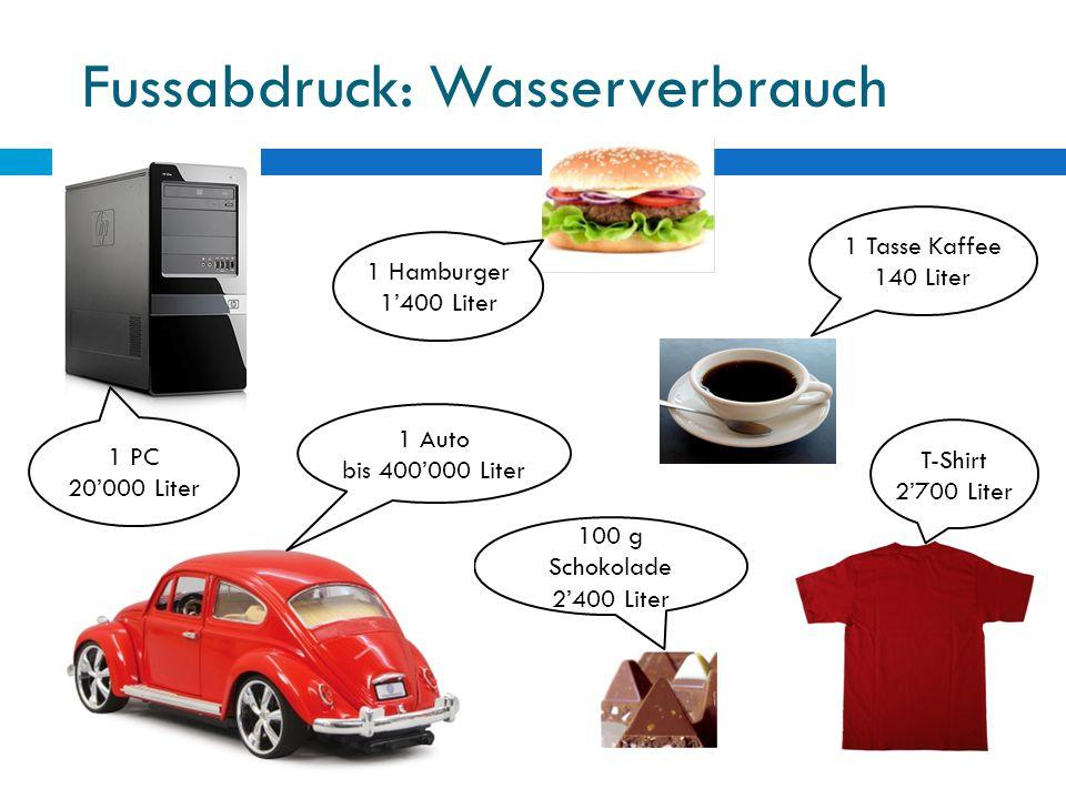 Fussabdruck: Wasserverbrauch T-Shirt 2'700 Liter 1 Tasse Kaffee 140 Liter 1 Hamburger 1'400 Liter 100 g Schokolade 2'400 Liter 1 PC 20'000 Liter 1 Aut