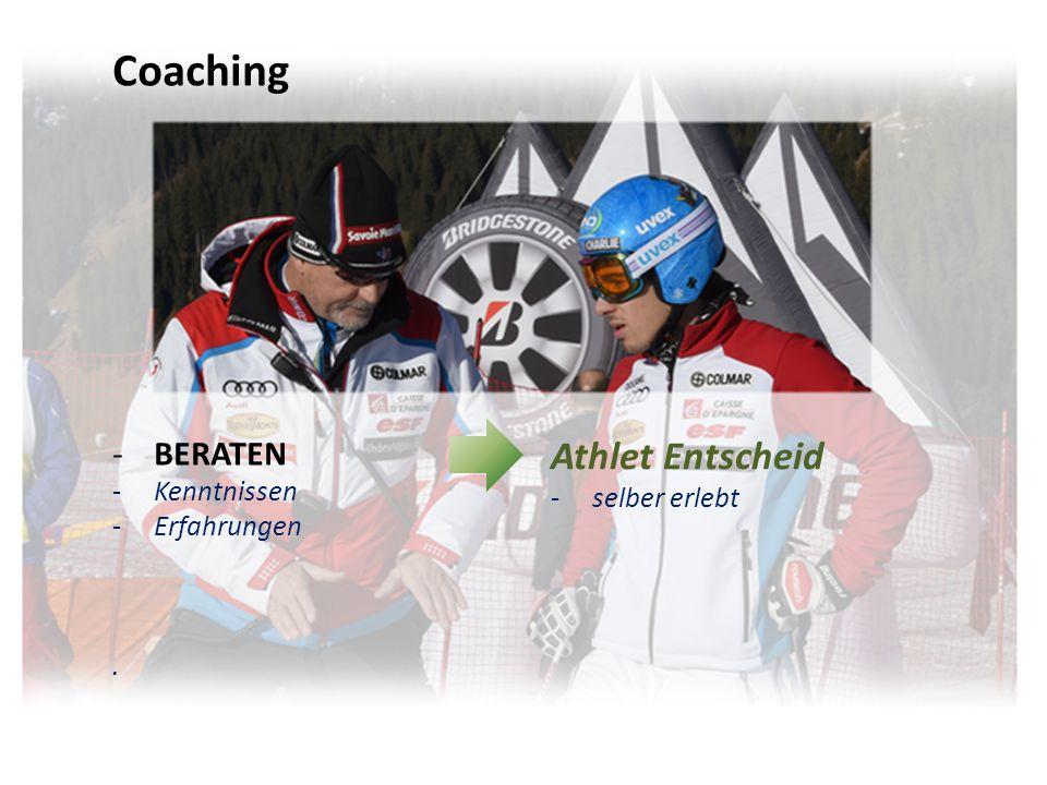 Coaching -BERATEN -Kenntnissen -Erfahrungen -BETREUEN -Trainer- Sportsausbildung -Erfahrungen Athlet Entscheid -selber erlebt Trainer Aktion -fehlenden Fähigkeiten