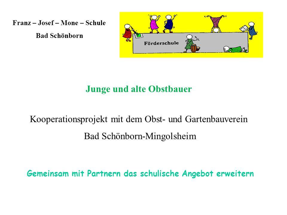 Franz – Josef – Mone – Schule Bad Schönborn Junge und alte Obstbauer Kooperationsprojekt mit dem Obst- und Gartenbauverein Bad Schönborn-Mingolsheim Gemeinsam mit Partnern das schulische Angebot erweitern