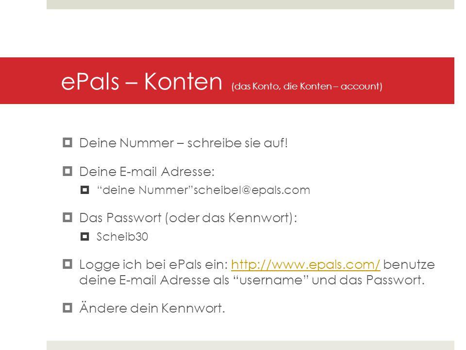 """ePals – Konten (das Konto, die Konten – account)  Deine Nummer – schreibe sie auf!  Deine E-mail Adresse:  """"deine Nummer""""scheibel@epals.com  Das P"""
