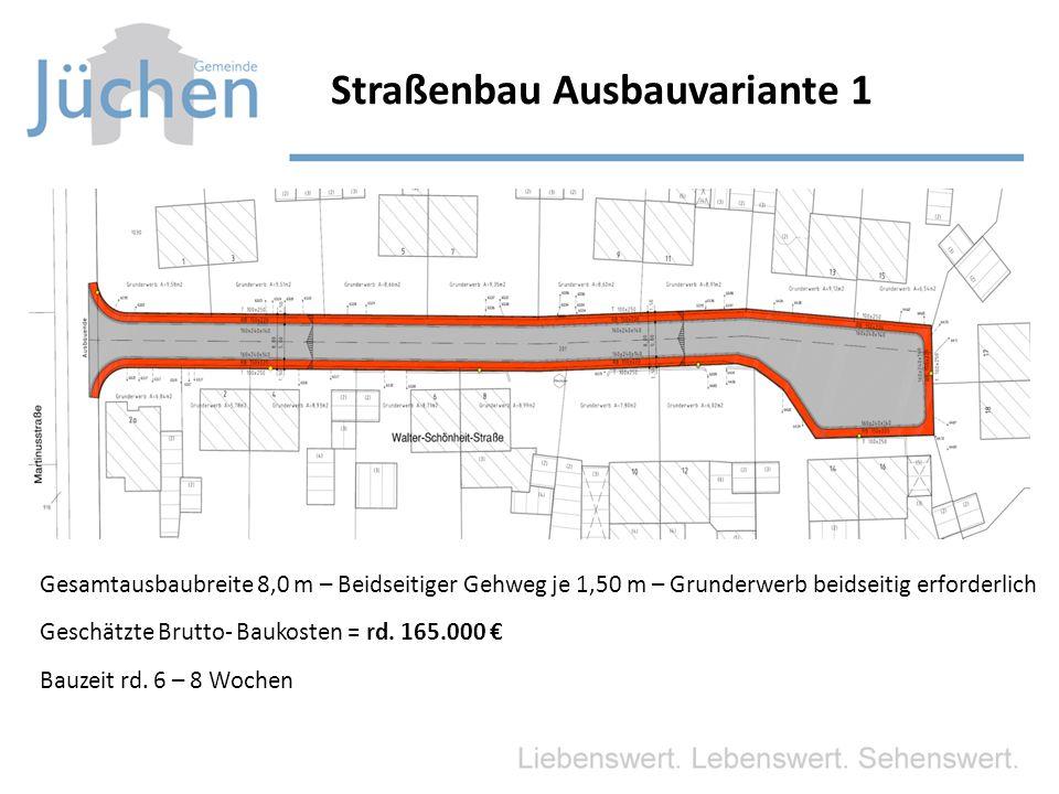 Straßenbau Ausbauvariante 1 Gesamtausbaubreite 8,0 m – Beidseitiger Gehweg je 1,50 m – Grunderwerb beidseitig erforderlich Geschätzte Brutto- Baukosten = rd.