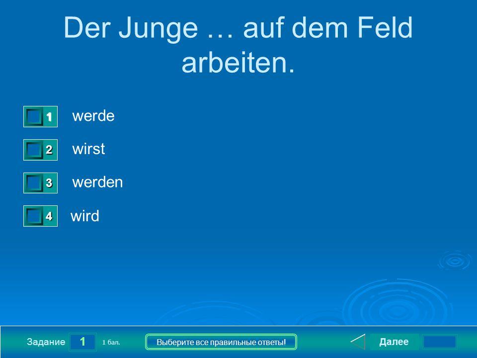 1 Задание Выберите все правильные ответы. Der Junge … auf dem Feld arbeiten.