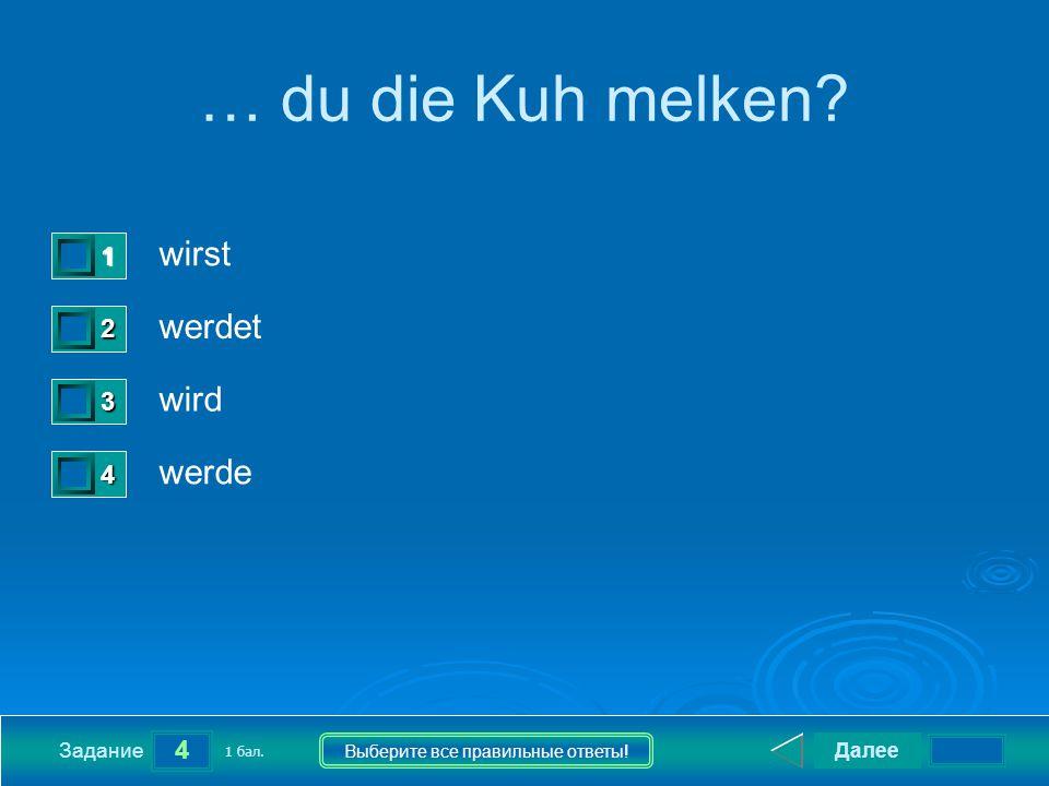 4 Задание Выберите все правильные ответы. … du die Kuh melken.
