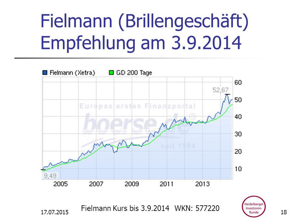 Fielmann (Brillengeschäft) Empfehlung am 3.9.2014 17.07.2015 Fielmann Kurs bis 3.9.2014 WKN: 577220 18