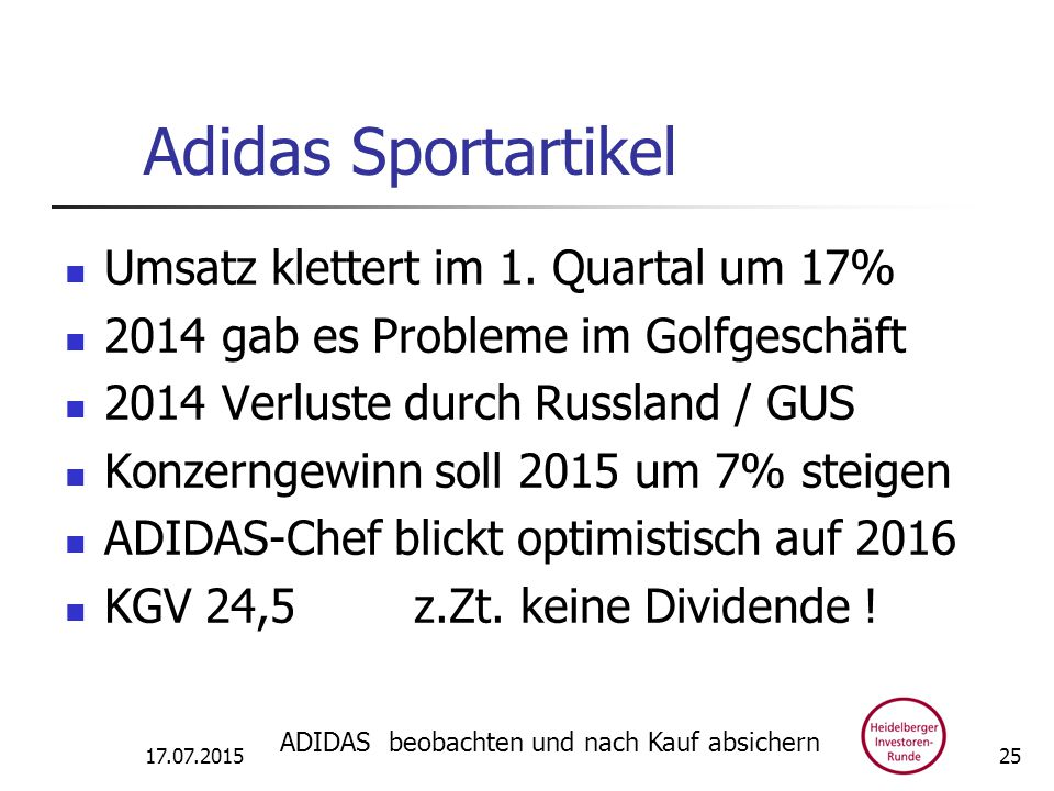 Adidas Sportartikel Umsatz klettert im 1.
