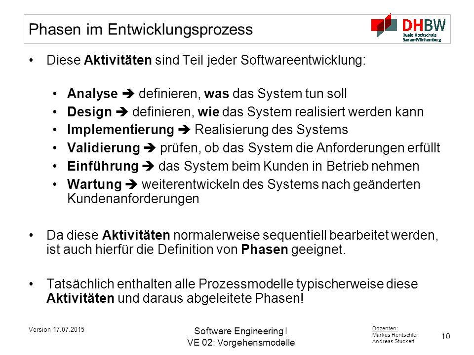 10 Dozenten: Markus Rentschler Andreas Stuckert Version 17.07.2015 Software Engineering I VE 02: Vorgehensmodelle Phasen im Entwicklungsprozess Diese