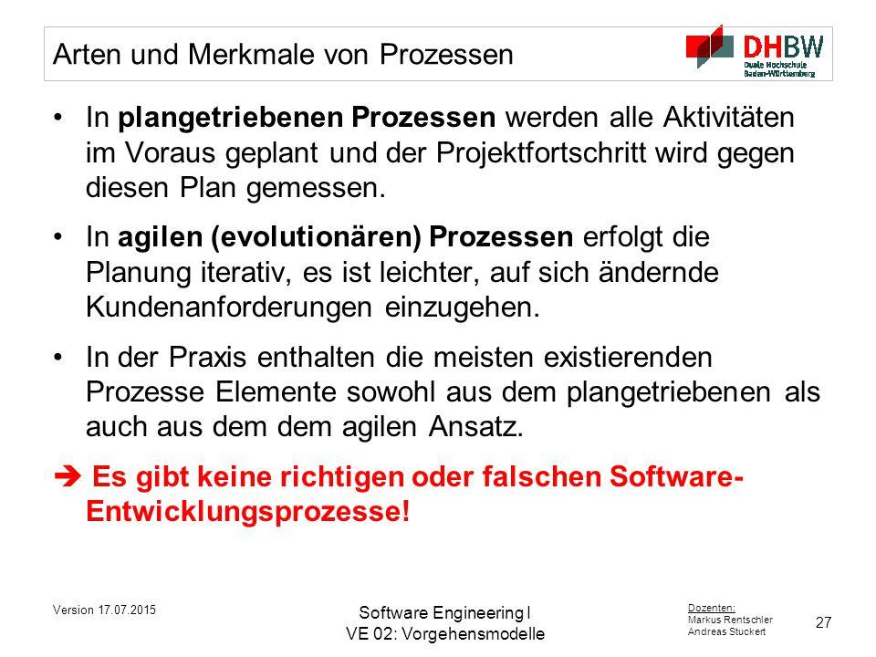 27 Dozenten: Markus Rentschler Andreas Stuckert Version 17.07.2015 Software Engineering I VE 02: Vorgehensmodelle Arten und Merkmale von Prozessen In plangetriebenen Prozessen werden alle Aktivitäten im Voraus geplant und der Projektfortschritt wird gegen diesen Plan gemessen.