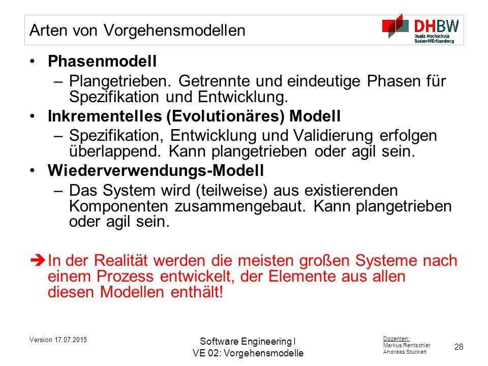 28 Dozenten: Markus Rentschler Andreas Stuckert Version 17.07.2015 Software Engineering I VE 02: Vorgehensmodelle Arten von Vorgehensmodellen Phasenmodell –Plangetrieben.
