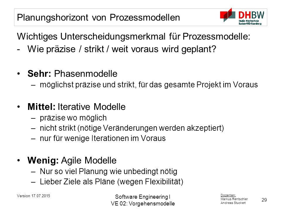 29 Dozenten: Markus Rentschler Andreas Stuckert Version 17.07.2015 Software Engineering I VE 02: Vorgehensmodelle Planungshorizont von Prozessmodellen Wichtiges Unterscheidungsmerkmal für Prozessmodelle: -Wie präzise / strikt / weit voraus wird geplant.