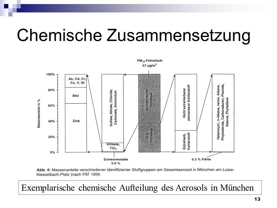 13 Chemische Zusammensetzung Exemplarische chemische Aufteilung des Aerosols in München