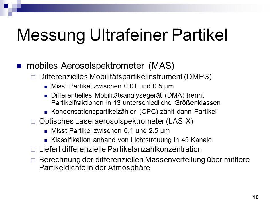 16 Messung Ultrafeiner Partikel mobiles Aerosolspektrometer (MAS)  Differenzielles Mobilitätspartikelinstrument (DMPS) Misst Partikel zwischen 0.01 u