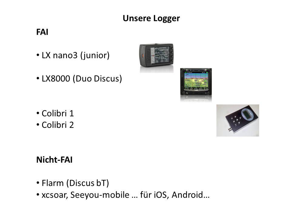 Unsere Logger FAI LX nano3 (junior) LX8000 (Duo Discus) Colibri 1 Colibri 2 Nicht-FAI Flarm (Discus bT) xcsoar, Seeyou-mobile … für iOS, Android…