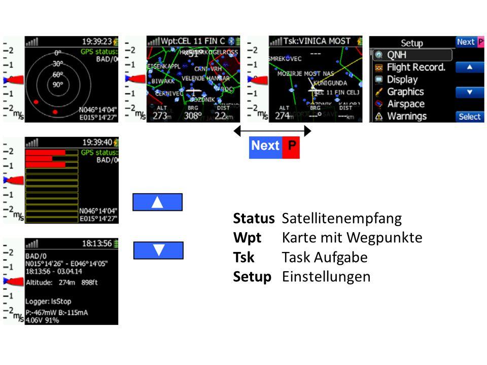 Status Satellitenempfang WptKarte mit Wegpunkte TskTask Aufgabe SetupEinstellungen