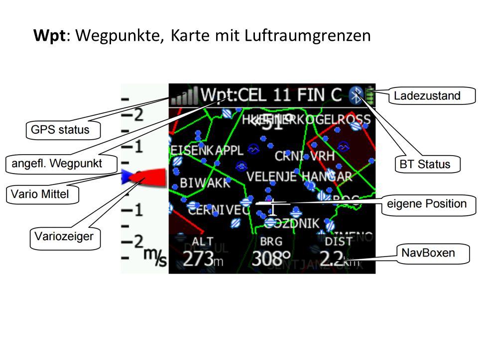 Wpt: Wegpunkte, Karte mit Luftraumgrenzen