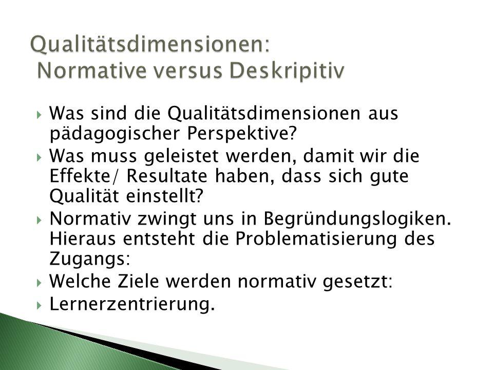  Was sind die Qualitätsdimensionen aus pädagogischer Perspektive?  Was muss geleistet werden, damit wir die Effekte/ Resultate haben, dass sich gute