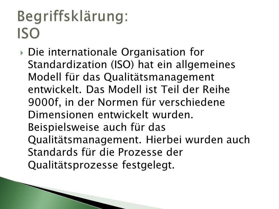  Die internationale Organisation for Standardization (ISO) hat ein allgemeines Modell für das Qualitätsmanagement entwickelt. Das Modell ist Teil der