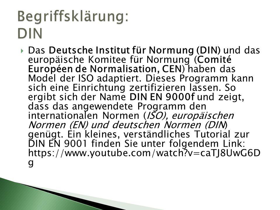  Das Deutsche Institut für Normung (DIN) und das europäische Komitee für Normung (Comité Européen de Normalisation, CEN) haben das Model der ISO adap