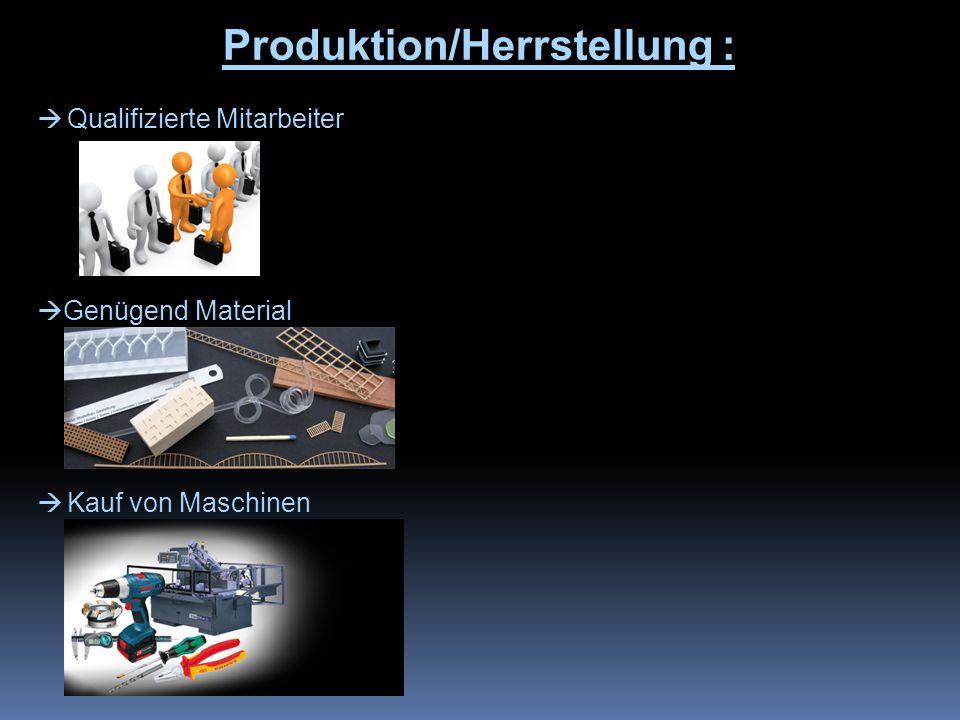 Produktion/Herrstellung :  Qualifizierte Mitarbeiter  Genügend Material  Kauf von Maschinen