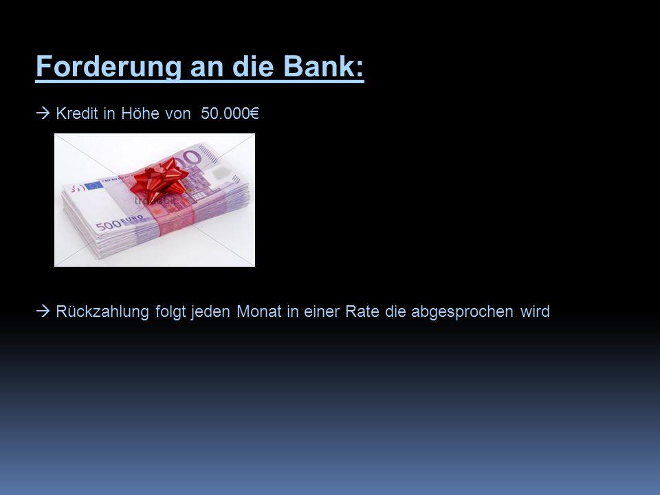 Forderung an die Bank:  Kredit in Höhe von 50.000€  Rückzahlung folgt jeden Monat in einer Rate die abgesprochen wird