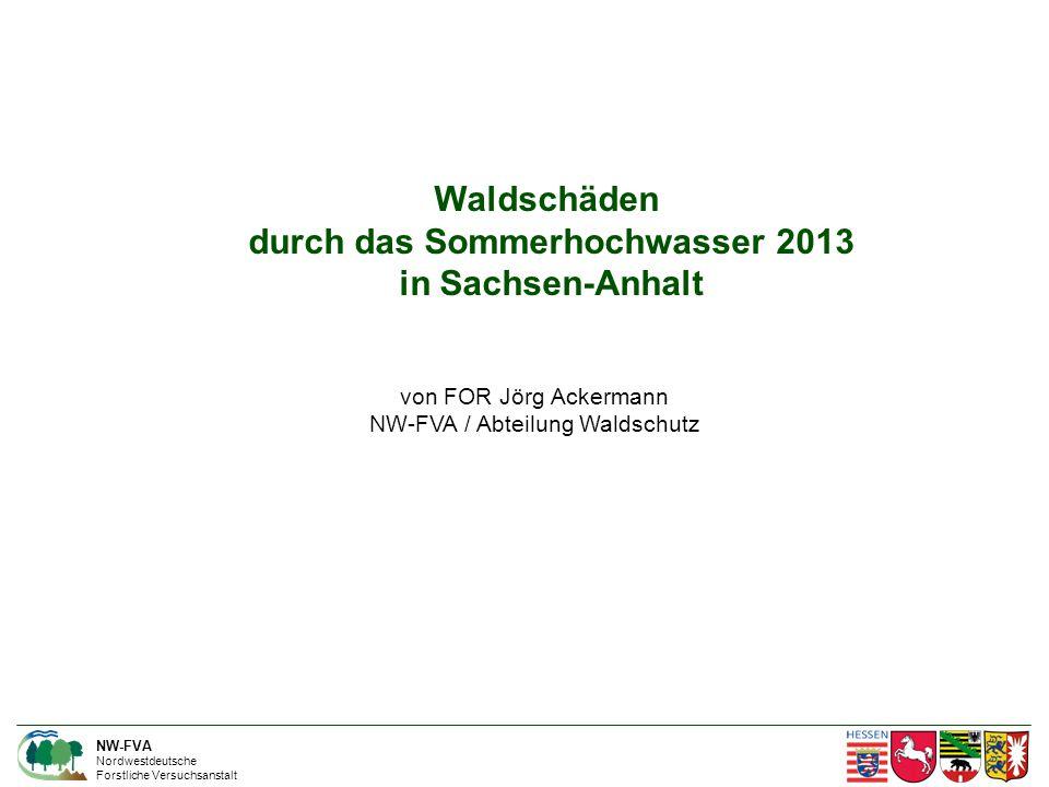 NW-FVA Nordwestdeutsche Forstliche Versuchsanstalt Waldschäden durch das Sommerhochwasser 2013 in Sachsen-Anhalt von FOR Jörg Ackermann NW-FVA / Abteilung Waldschutz