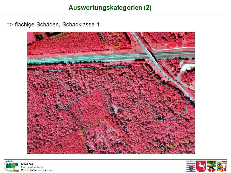 NW-FVA Nordwestdeutsche Forstliche Versuchsanstalt => flächige Schäden, Schadklasse 1 Auswertungskategorien (2)