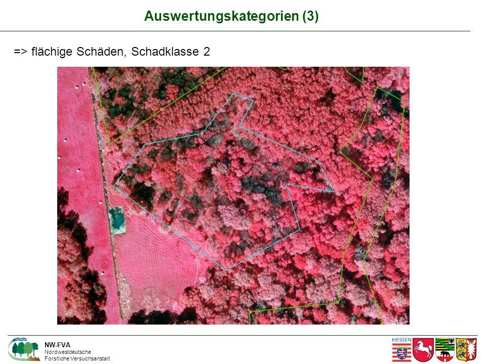NW-FVA Nordwestdeutsche Forstliche Versuchsanstalt => flächige Schäden, Schadklasse 2 Auswertungskategorien (3)