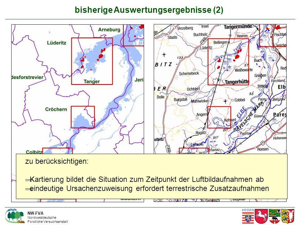 NW-FVA Nordwestdeutsche Forstliche Versuchsanstalt bisherige Auswertungsergebnisse (2) zu berücksichtigen:  Kartierung bildet die Situation zum Zeitpunkt der Luftbildaufnahmen ab  eindeutige Ursachenzuweisung erfordert terrestrische Zusatzaufnahmen